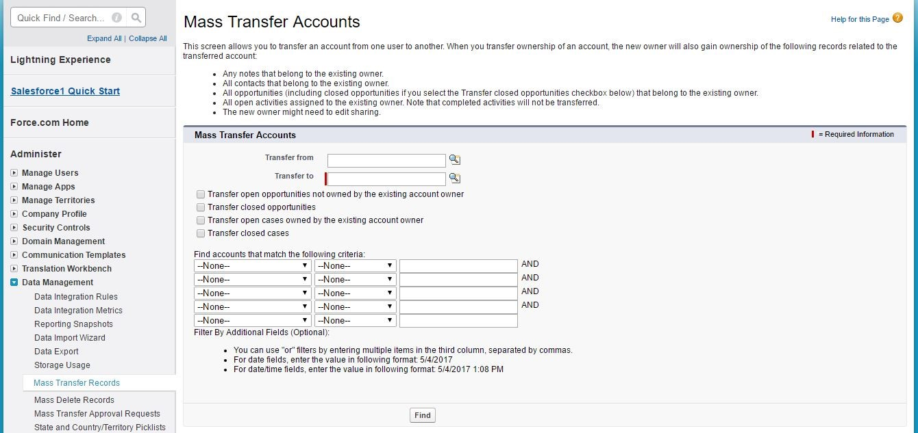 Mass Transfer Accounts
