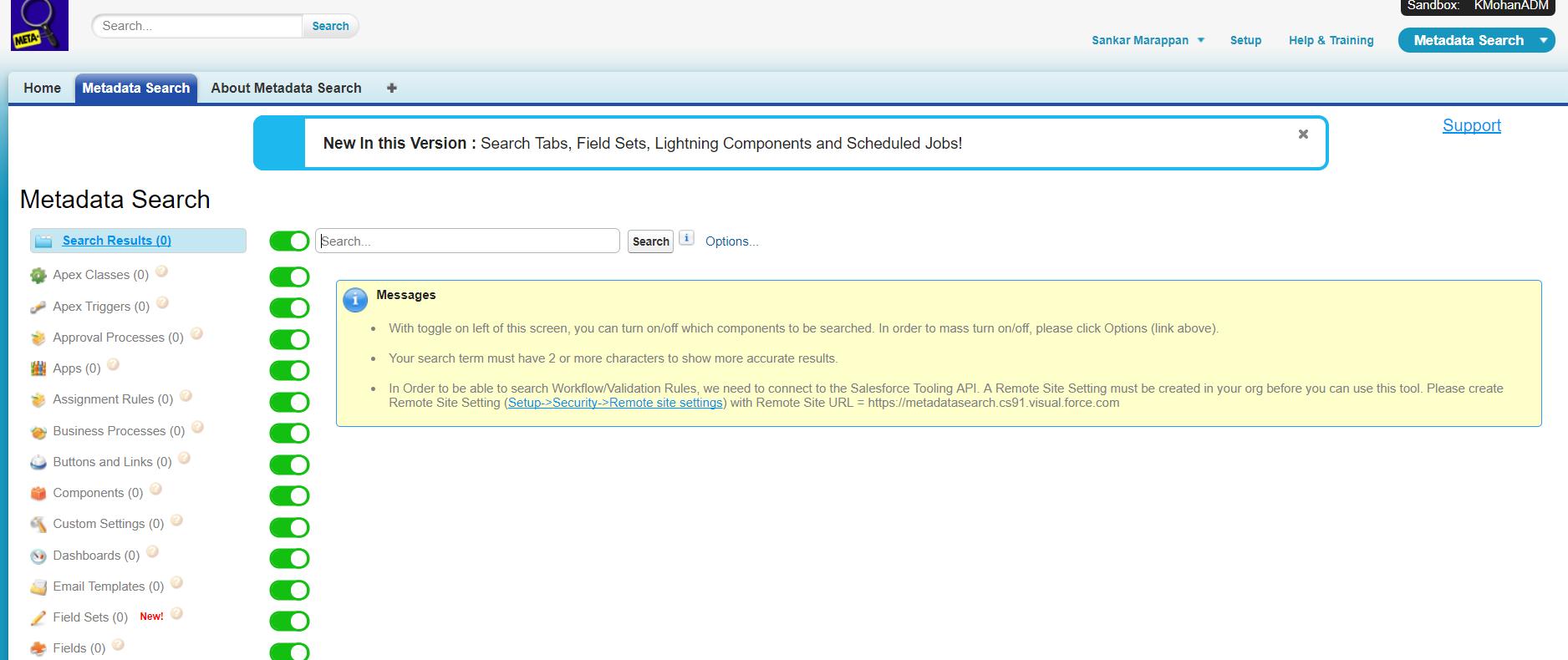Salesforce Metadata search