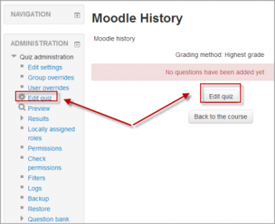 moodle creation of quiz