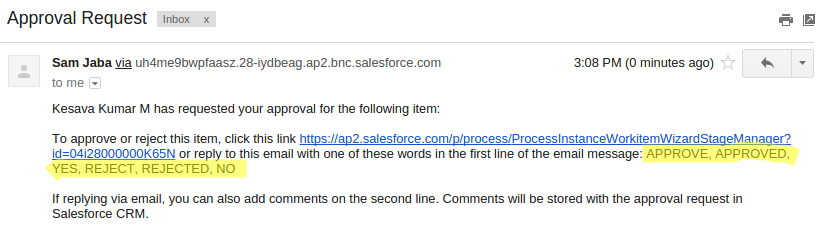 salesforce email approval