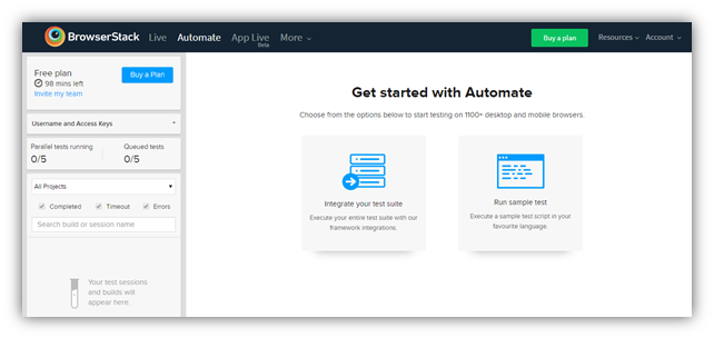 automated testing with browserstack