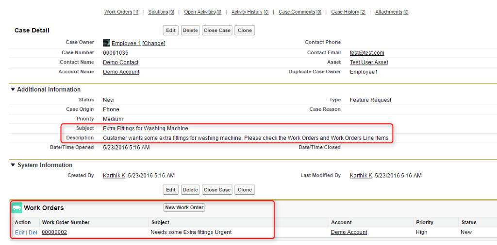 Salesforce work order