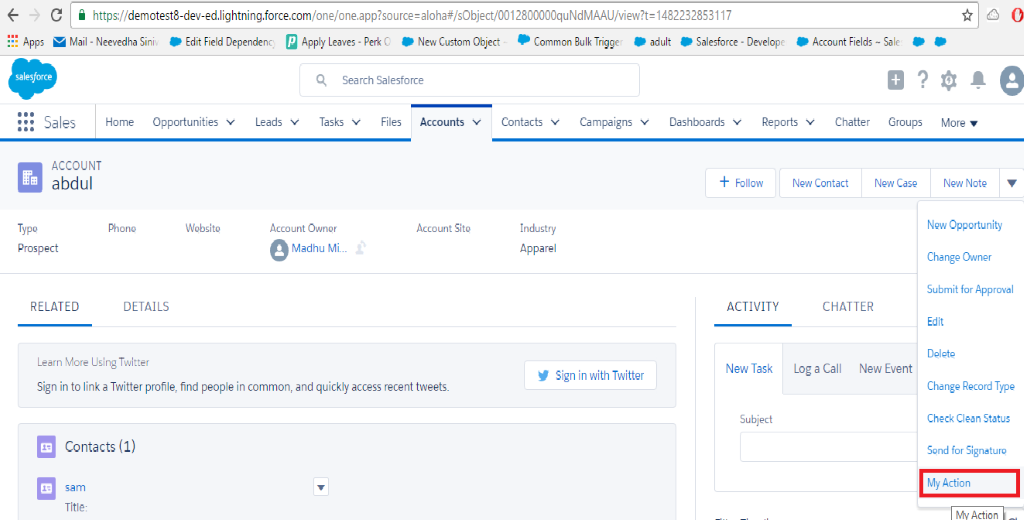 Lightning Component Actions in Salesforce