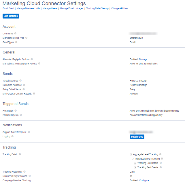 Marketing Cloud Connector Settings