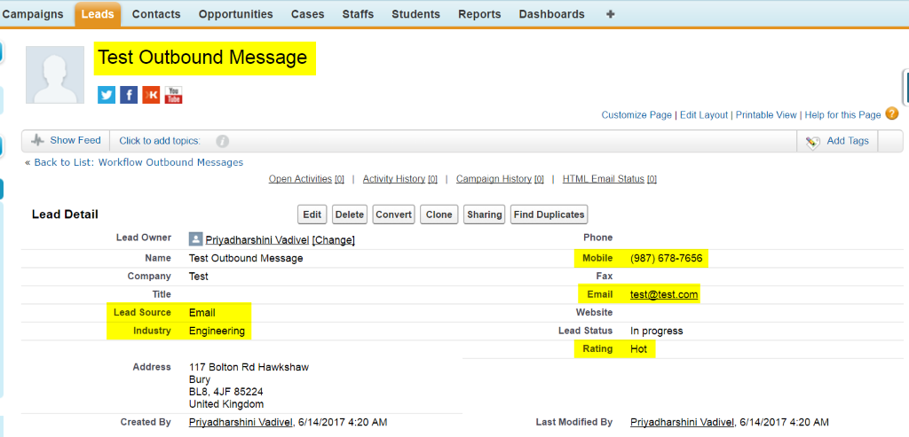 outbound messages salesforce