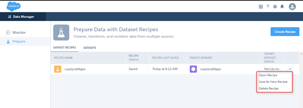 dataset in wave analytics