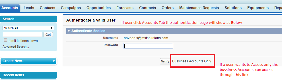password authentication to person accounts